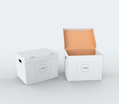 Single Wall Cardboard Boxes with Side Handles and Attached Lid Customised with your design