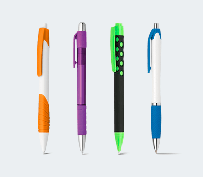 Plastic grip pen with rubber detail Customised with your design