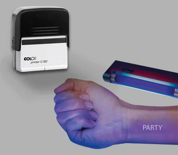 Invisible ink stamp