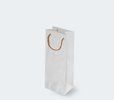 Paper carrier bag with corded handles for 1 bottle