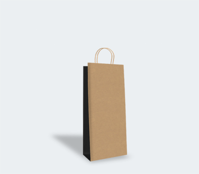 Paper carrier bag with twisted handles for 1 bottle