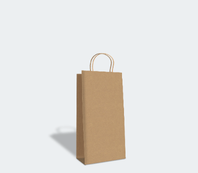 Paper carrier bag with twisted handles for 2 bottles