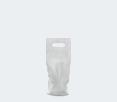 Plastic bag with die cut handles for 1 bottle